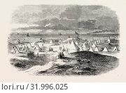 THE VOLUNTEER CAMP, ON CROSBY SANDS, NEAR LIVERPOOL, UK, 1860 engraving (2012 год). Редакционное фото, фотограф Artokoloro / age Fotostock / Фотобанк Лори