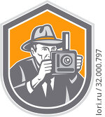 Купить «Illustration of a photographer wearing fedora hat shooting with vintage bellows camera set inside shield crest on isolated background done in retro style.», фото № 32000797, снято 7 июля 2020 г. (c) easy Fotostock / Фотобанк Лори