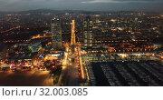Купить «View from drones of coast in Barcelona and center with building», видеоролик № 32003085, снято 25 декабря 2018 г. (c) Яков Филимонов / Фотобанк Лори