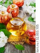 Купить «Яблочный сок в кувшине», фото № 32003105, снято 12 мая 2019 г. (c) Надежда Мишкова / Фотобанк Лори
