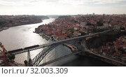 Купить «Day aerial cityscape of Porto city in Portugal», видеоролик № 32003309, снято 17 июня 2019 г. (c) Яков Филимонов / Фотобанк Лори