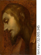 Head of Christ, 1559–1613, Oil paint on a sheet of paper that had previous writing by the artist in pen and brown ink (surface varnished), 16-15/16 x... (2017 год). Редакционное фото, фотограф © Copyright Artokoloro Quint Lox Limited / age Fotostock / Фотобанк Лори