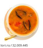Купить «Delicious seafood soup with mussels and prawns served», фото № 32009445, снято 20 ноября 2019 г. (c) Яков Филимонов / Фотобанк Лори