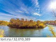 The river makes a sharp turn. autumn landscape. Стоковое фото, фотограф Акиньшин Владимир / Фотобанк Лори