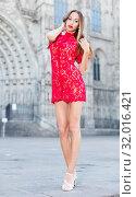 Купить «close-up portrait of young slim adult girl in sexy evening apparel», фото № 32016421, снято 24 июня 2017 г. (c) Яков Филимонов / Фотобанк Лори