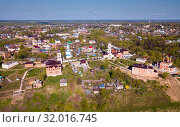 Panoramic aerial view of district of Belev on riverside, Tula region (2019 год). Стоковое фото, фотограф Яков Филимонов / Фотобанк Лори