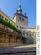 Купить «Illustration of Clock tower is architecture landmark of Sighisoara», фото № 32016789, снято 16 сентября 2017 г. (c) Яков Филимонов / Фотобанк Лори
