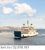 Ferry boat ship sailing between Palau and La Maddalena town, Sardinia, Italy. Стоковое фото, фотограф Matej Kastelic / Фотобанк Лори