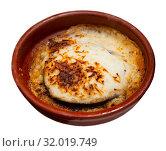 Купить «Moussaka dish from eggplant with minced meat baked with cheese», фото № 32019749, снято 16 февраля 2020 г. (c) Яков Филимонов / Фотобанк Лори