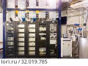Купить «Server room with telecommunication racks», фото № 32019785, снято 9 июля 2020 г. (c) Яков Филимонов / Фотобанк Лори