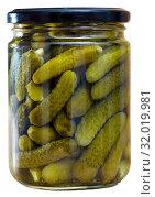 Купить «Glass jar with pickled cucumbers», фото № 32019981, снято 17 сентября 2019 г. (c) Яков Филимонов / Фотобанк Лори