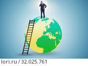 Купить «Businessman on top of the world», фото № 32025761, снято 20 сентября 2019 г. (c) Elnur / Фотобанк Лори