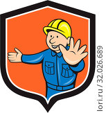 Купить «Illustration of a builder construction worker carpenter hands out traffic hand signal set inside shield crest done in cartoon style.», фото № 32026689, снято 29 марта 2020 г. (c) easy Fotostock / Фотобанк Лори