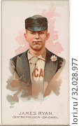 James Ryan, Baseball Player, Center Fielder, Chicago, from World's Champions, Series 2 (N29) for Allen & Ginter Cigarettes, 1888, Commercial color lithograph... (2017 год). Редакционное фото, фотограф © Copyright Artokoloro Quint Lox Limited / age Fotostock / Фотобанк Лори