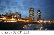 Купить «View of Beach in summer night in Barcelona, Spain.», видеоролик № 32031253, снято 27 июня 2019 г. (c) Яков Филимонов / Фотобанк Лори