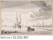 Купить «Various Ships and a Rowing Boat on an Estuary, n.d., Black chalk, brush in black ink and gray wash, sheet: 4 5/8 x 6 15/16 in. (11.8 x 17.6 cm), Drawings...», фото № 32032481, снято 22 апреля 2017 г. (c) age Fotostock / Фотобанк Лори