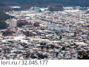 Aerial View of Lake Kawaguchiko at Fujikawaguchiko Japan. Стоковое фото, фотограф Zoonar.com/Vichaya Kiatying-Angsulee / easy Fotostock / Фотобанк Лори