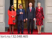 April 24, 2018 Warsaw, Poland. Presidential Couple welcoming Ethiopian Presidential Couple. Редакционное фото, фотограф Kleta / age Fotostock / Фотобанк Лори