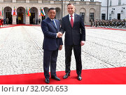 April 24, 2018 Warsaw, Poland. Presidential Couple welcoming Ethiopian Presidential Couple. Pictured: President of Poland Andrzej Duda and first lady Agata Duda. Редакционное фото, фотограф Kleta / age Fotostock / Фотобанк Лори