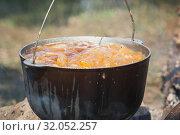 Купить «Vegetables boils in a cauldron on fire», фото № 32052257, снято 14 июля 2019 г. (c) EugeneSergeev / Фотобанк Лори