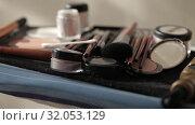 Купить «Brushes for Makeup artists Macro 100mm slider camera smooth motion», видеоролик № 32053129, снято 20 августа 2019 г. (c) Aleksejs Bergmanis / Фотобанк Лори