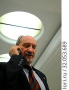 February 19, 2009. Antoni Macierewicz in the Sejm, Warsaw, Poland. Редакционное фото, фотограф Brykczynski Donat / age Fotostock / Фотобанк Лори
