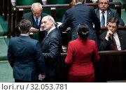 January 24, 2014 Sejm, Warsaw, Poland. 59th Sejm sitting. Pictured: Antoni Macierewicz, Marek Kuchcinski. Редакционное фото, фотограф BE&W AGENCJA FOTOGRAFICZNA SP. / age Fotostock / Фотобанк Лори
