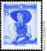 Woman in traditional costume, Tyrol, Pustertal, postage stamp, Austria. (2014 год). Редакционное фото, фотограф Ivan Vdovin / age Fotostock / Фотобанк Лори