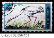 Купить «White-naped Crane, Grus vipio, postage stamp, Mongolia, 1990.», фото № 32056161, снято 6 декабря 2010 г. (c) age Fotostock / Фотобанк Лори