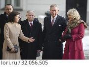 Prince Charles and Duchess Camilla visiting Poland on March 16, 2010. Warsaw, Poland. Pictured: President Lech Kaczynski, Prince Charles, Duchess Camilla, Maria Kaczynska. Редакционное фото, фотограф BE&W AGENCJA FOTOGRAFICZNA SP. / age Fotostock / Фотобанк Лори