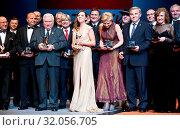 June 11, 2012 Warsaw, Poland. `Teraz Polska` Gala. Pictured: Lech Walesa and Aleksandra Kwasniewska. Редакционное фото, фотограф Brykczynski Donat / age Fotostock / Фотобанк Лори