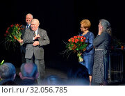 October 11, 2012 Gdansk, Poland. Premiere of the performance `Danuta W`. Pictured: Lech Walesa with his wife Danuta and actress Krystyna Janda, Janusz Zaorski. Редакционное фото, фотограф BE&W AGENCJA FOTOGRAFICZNA SP. / age Fotostock / Фотобанк Лори