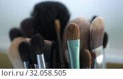 Brushes for Makeup artists Macro 100mm slider camera smooth motion. Стоковое видео, видеограф Aleksejs Bergmanis / Фотобанк Лори