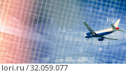 Купить «Airliner in motion on abstract background», фото № 32059077, снято 20 апреля 2017 г. (c) Яков Филимонов / Фотобанк Лори