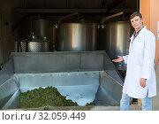 Купить «Man showing process of winemaking», фото № 32059449, снято 13 сентября 2018 г. (c) Яков Филимонов / Фотобанк Лори