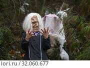 One of the characters disguised in the traditional carnival of Zubieta (Navarra).Known as 'mozorros' that represent evil. (2019 год). Редакционное фото, фотограф Joaquín Gómez / age Fotostock / Фотобанк Лори