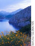 Купить «mountain lake in summer twilight», фото № 32064105, снято 28 мая 2020 г. (c) Яков Филимонов / Фотобанк Лори