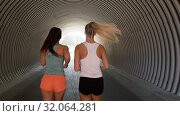 Купить «young women or female friends running outdoors», видеоролик № 32064281, снято 4 августа 2019 г. (c) Syda Productions / Фотобанк Лори