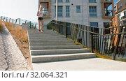 Купить «young woman running downstairs», видеоролик № 32064321, снято 4 августа 2019 г. (c) Syda Productions / Фотобанк Лори