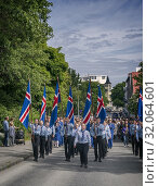 Купить «Iceland's Scouts taking part in the festivities of Independence day, June 17, Reykjavik, Iceland.», фото № 32064601, снято 17 июня 2019 г. (c) age Fotostock / Фотобанк Лори