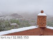 Terrace of the Riad Atlas Tighza (Idir's guesthouse), village of Tighza, Ounila River valley, Ouarzazate Province, region of Draa-Tafilalet, Morocco, North West Africa. Стоковое фото, фотограф Christian Goupi / age Fotostock / Фотобанк Лори