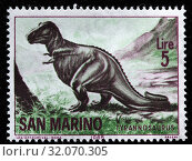Tyrannosaurus, Prehistoric animal, postage stamp, San Marino, 1965. (2010 год). Редакционное фото, фотограф Ivan Vdovin / age Fotostock / Фотобанк Лори