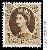 Queen Elizabeth II, Wilding series, postage stamp, UK, 1953. (2010 год). Редакционное фото, фотограф Ivan Vdovin / age Fotostock / Фотобанк Лори