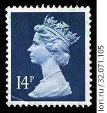 Queen Elizabeth II, Machin series, postage stamp, UK, 1988. (2010 год). Редакционное фото, фотограф Ivan Vdovin / age Fotostock / Фотобанк Лори