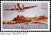 Vickers VC. 1 Viking airplane over Ankara, postage stamp, Turkey, 1949. (2014 год). Редакционное фото, фотограф Ivan Vdovin / age Fotostock / Фотобанк Лори