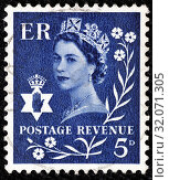 Queen Elizabeth II, Wilding series, Northern Ireland, postage stamp, UK, 1966. (2013 год). Редакционное фото, фотограф Ivan Vdovin / age Fotostock / Фотобанк Лори