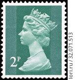 Queen Elizabeth II, Machin series, postage stamp, UK, 1971. (2014 год). Редакционное фото, фотограф Ivan Vdovin / age Fotostock / Фотобанк Лори