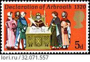 Declaration of Arbroath, 1320, postage stamp, UK, 1970. (2014 год). Редакционное фото, фотограф Ivan Vdovin / age Fotostock / Фотобанк Лори