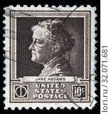 Купить «Jane Addams (1860-1935), American settlement activist, reformer, social worker, postage stamp, USA, 1940.», фото № 32071681, снято 25 ноября 2010 г. (c) age Fotostock / Фотобанк Лори