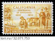 California, centennial of statehood, 1850, postage stamp, USA, 1950. (2010 год). Редакционное фото, фотограф Ivan Vdovin / age Fotostock / Фотобанк Лори
